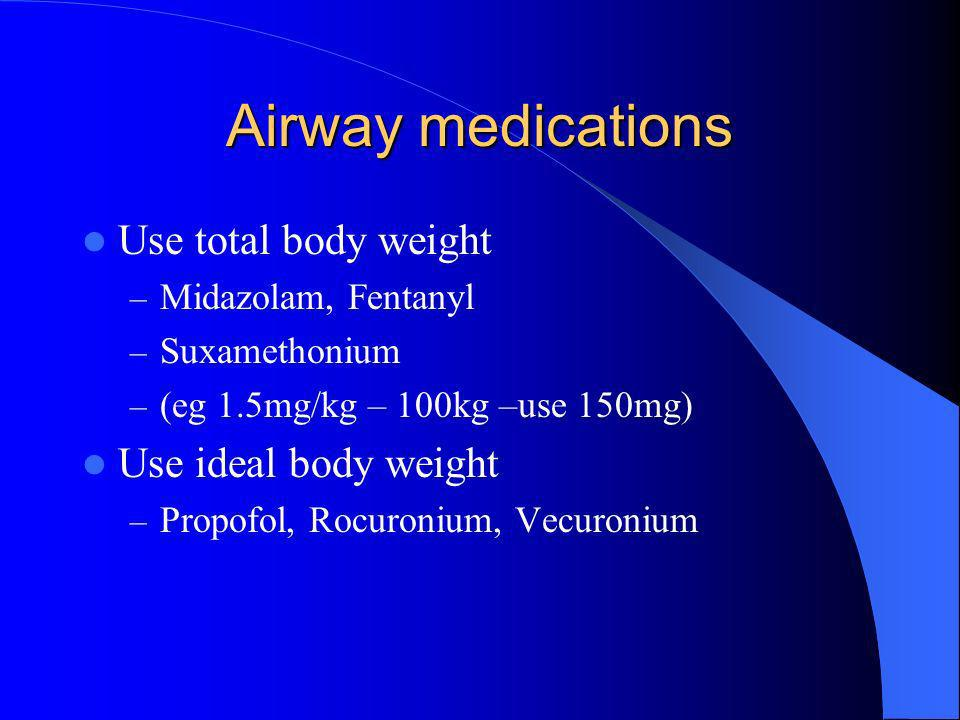 Airway medications Use total body weight Use ideal body weight