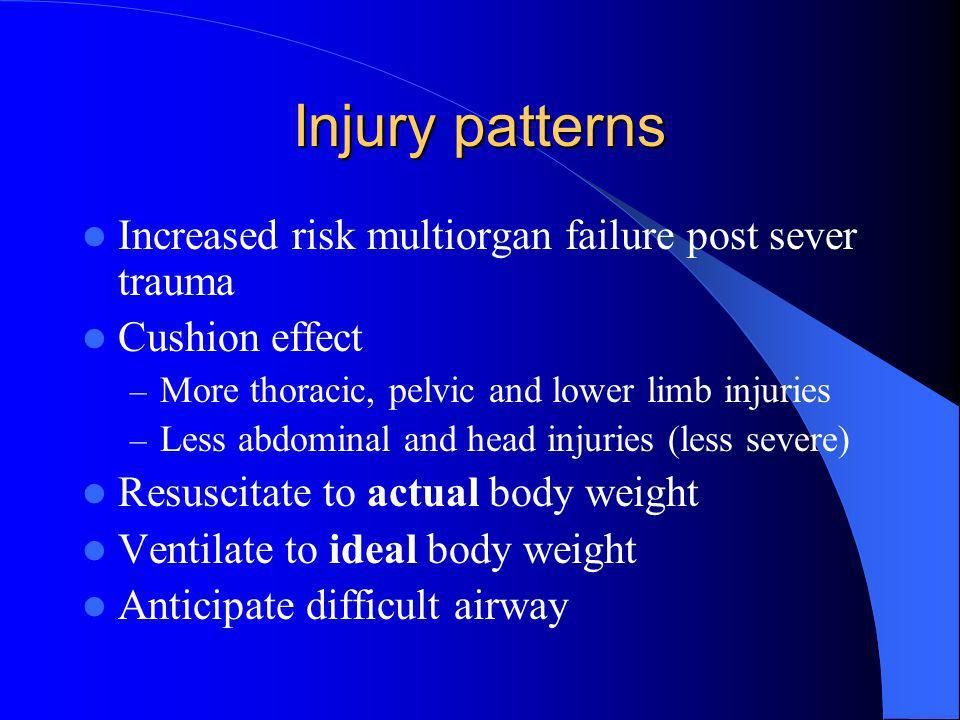 Injury patterns Increased risk multiorgan failure post sever trauma
