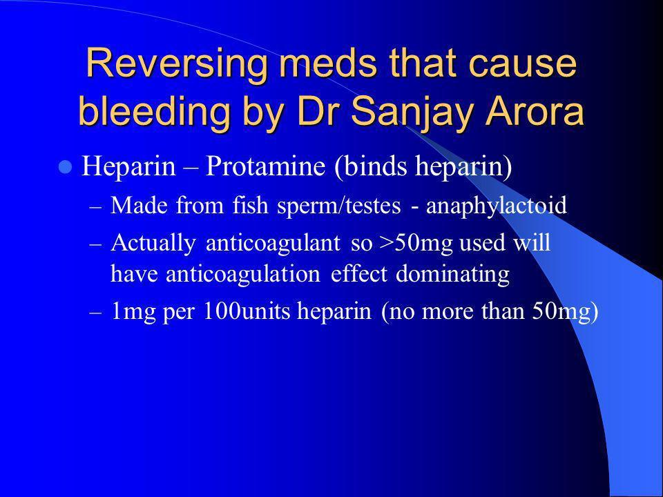 Reversing meds that cause bleeding by Dr Sanjay Arora