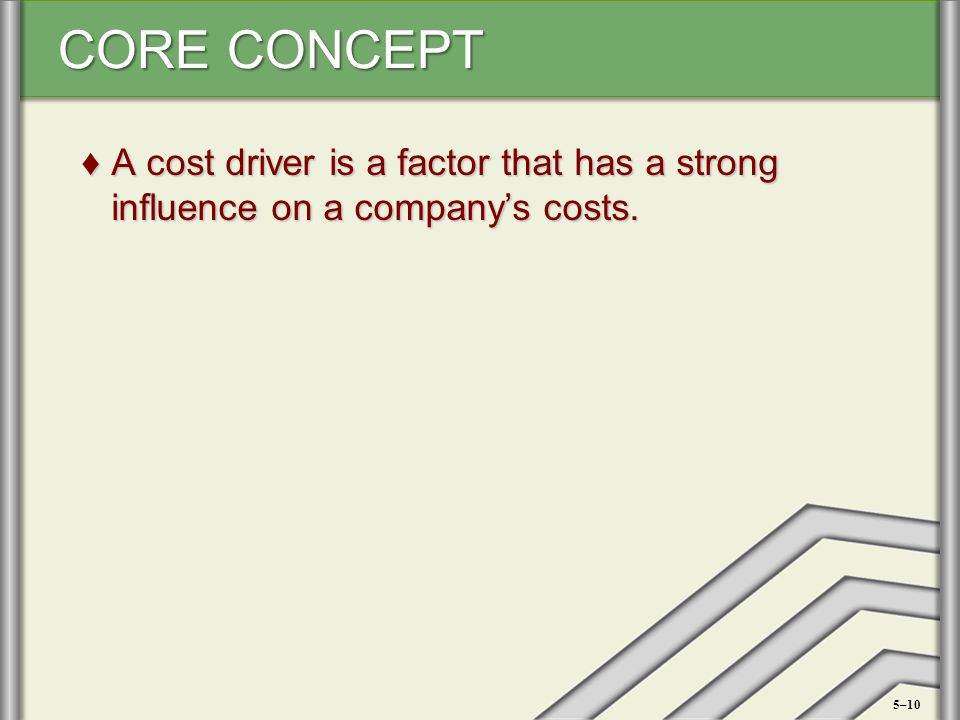A cost driver is a factor that has a strong influence on a company's costs.