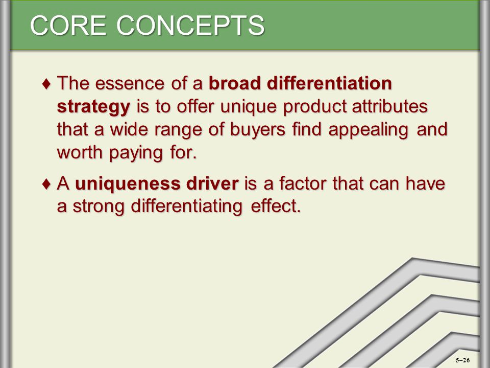 The essence of a broad differentiation strategy is to offer unique product attributes that a wide range of buyers find appealing and worth paying for.