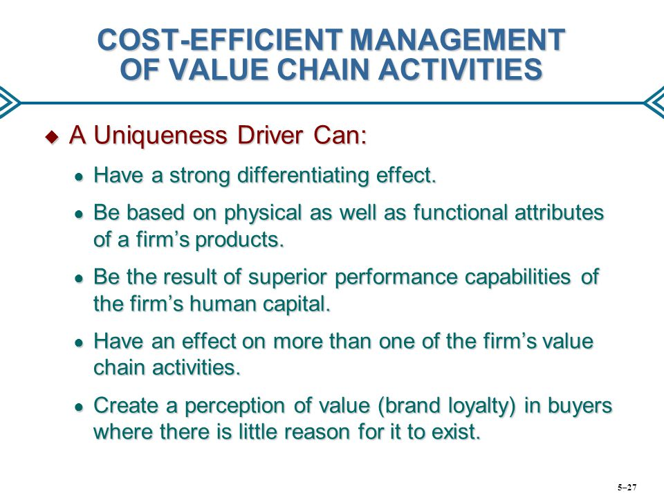 COST-EFFICIENT MANAGEMENT OF VALUE CHAIN ACTIVITIES