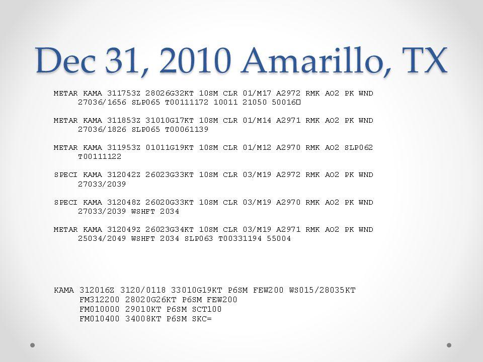 Dec 31, 2010 Amarillo, TX