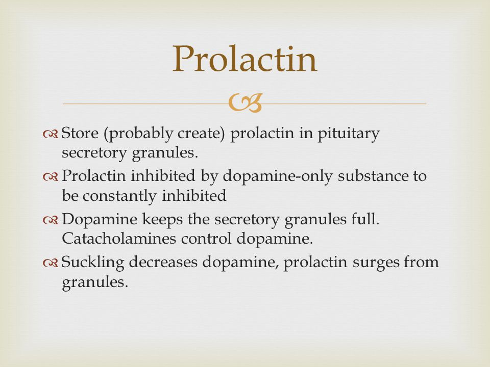 Prolactin Store (probably create) prolactin in pituitary secretory granules.