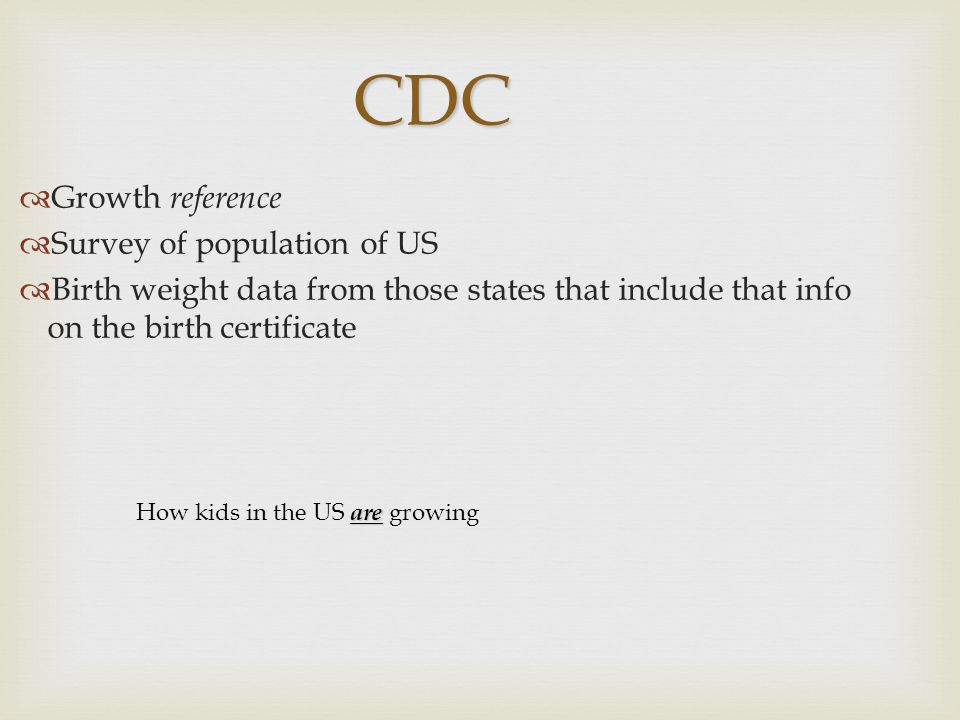 CDC Growth reference Survey of population of US