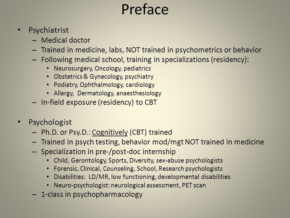 Preface Psychiatrist Psychologist Medical doctor
