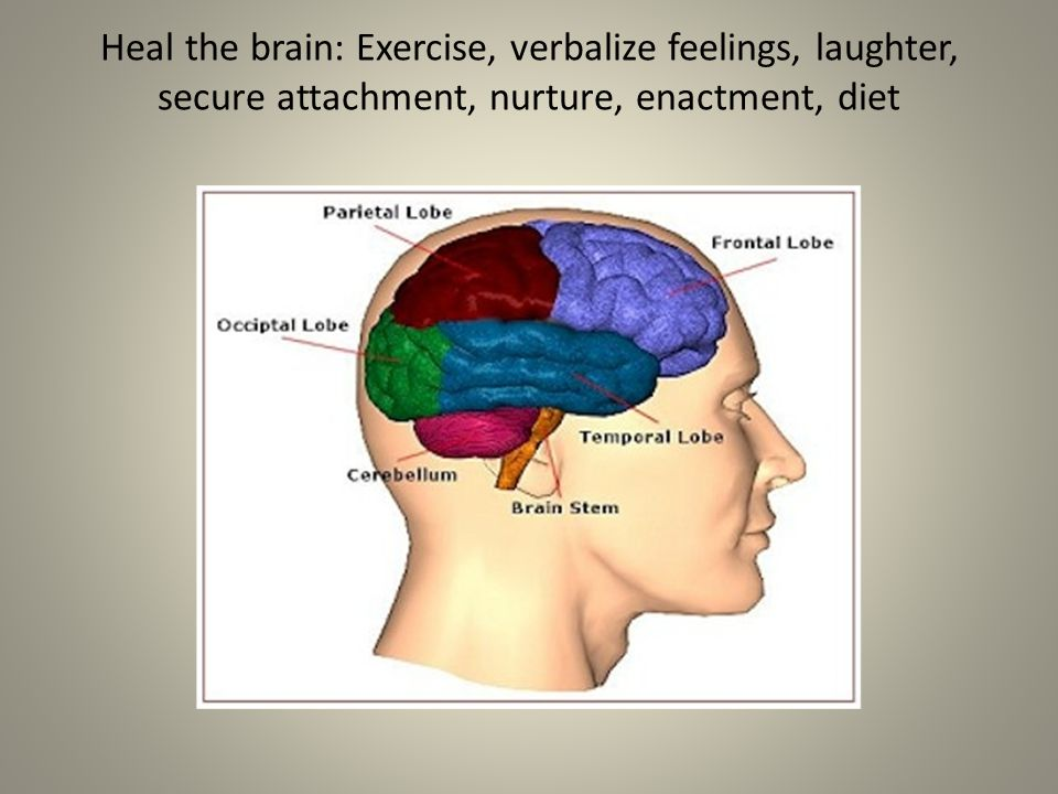 Heal the brain: Exercise, verbalize feelings, laughter, secure attachment, nurture, enactment, diet
