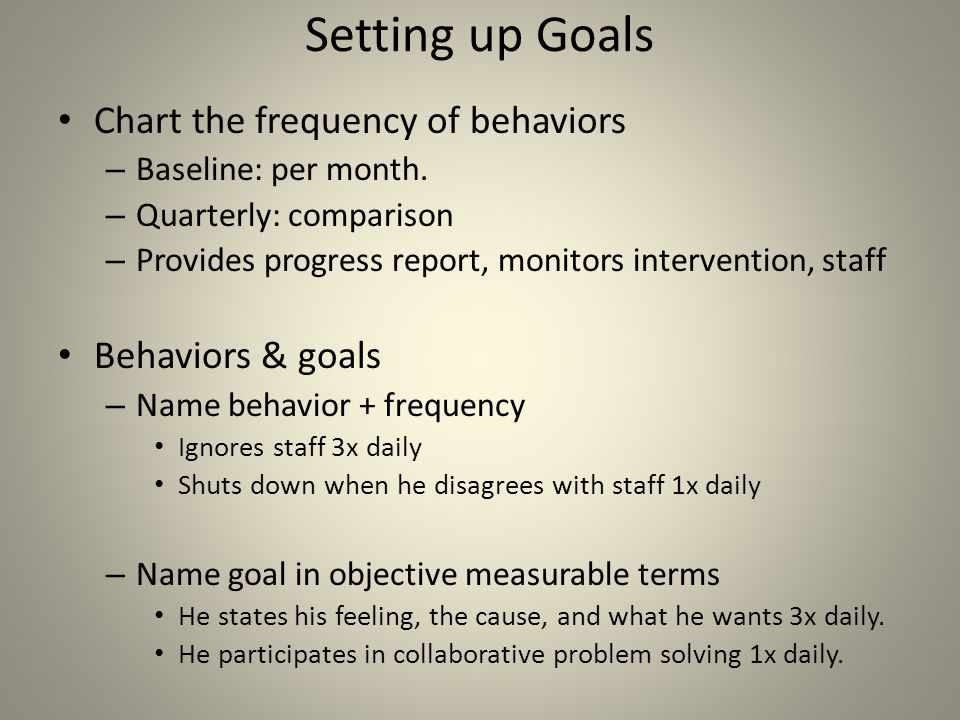 Setting up Goals Chart the frequency of behaviors Behaviors & goals