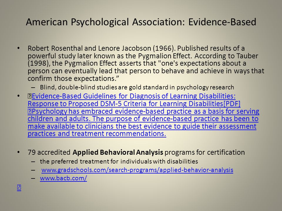 American Psychological Association: Evidence-Based