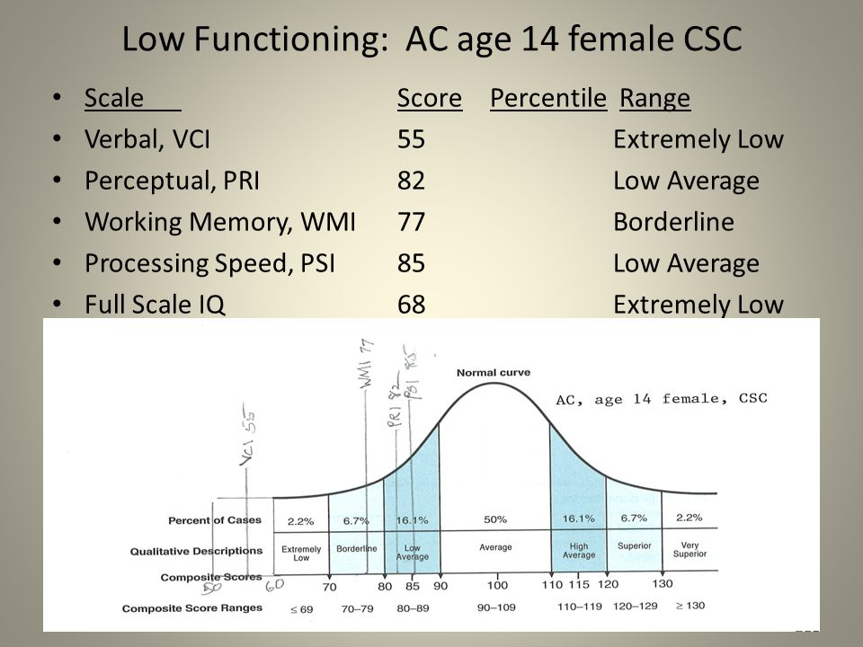 Low Functioning: AC age 14 female CSC