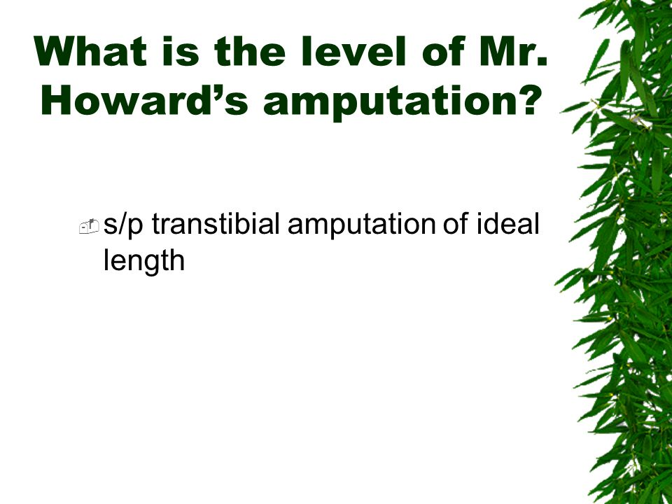 What is the level of Mr. Howard's amputation