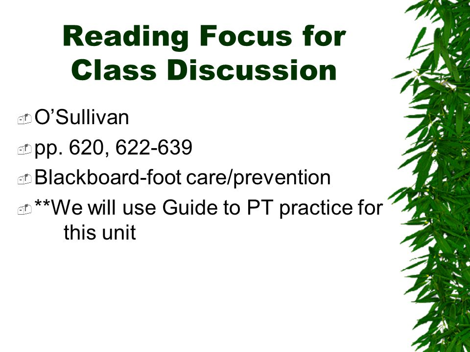 Reading Focus for Class Discussion