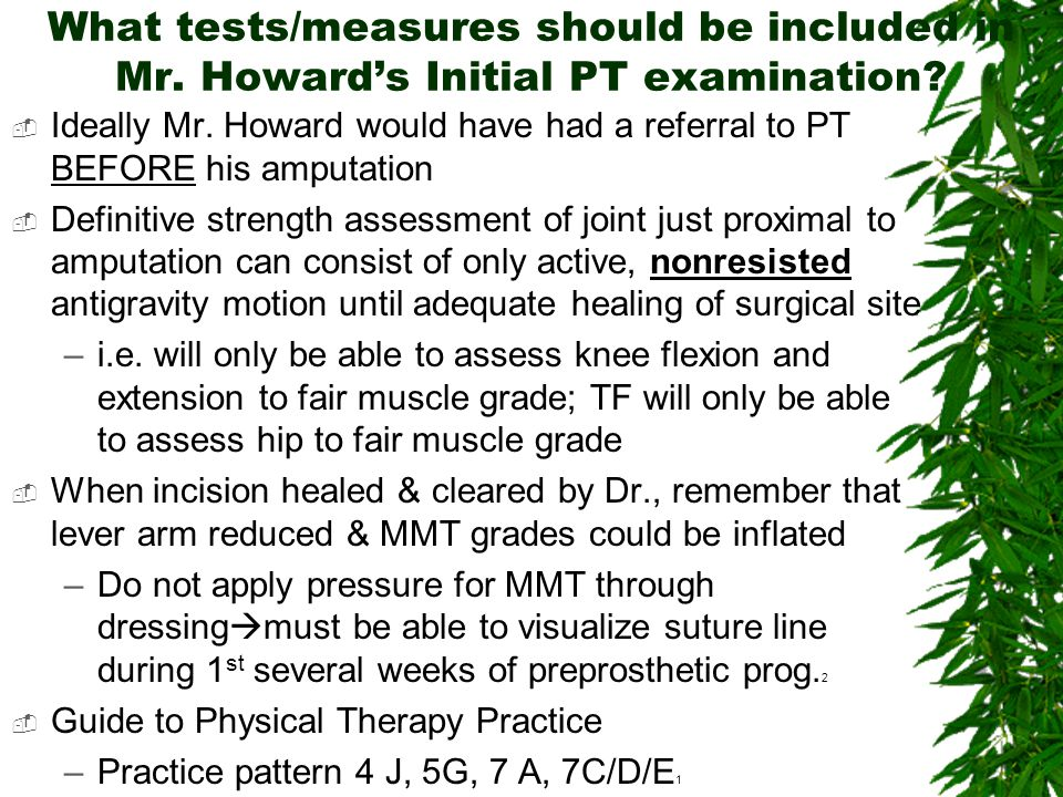 What tests/measures should be included in Mr