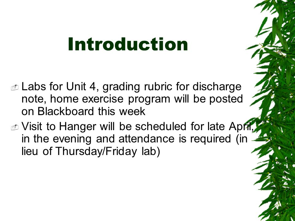 Introduction Labs for Unit 4, grading rubric for discharge note, home exercise program will be posted on Blackboard this week.