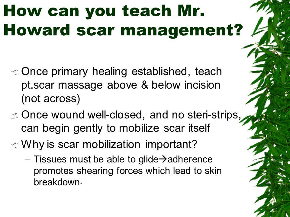 How can you teach Mr. Howard scar management