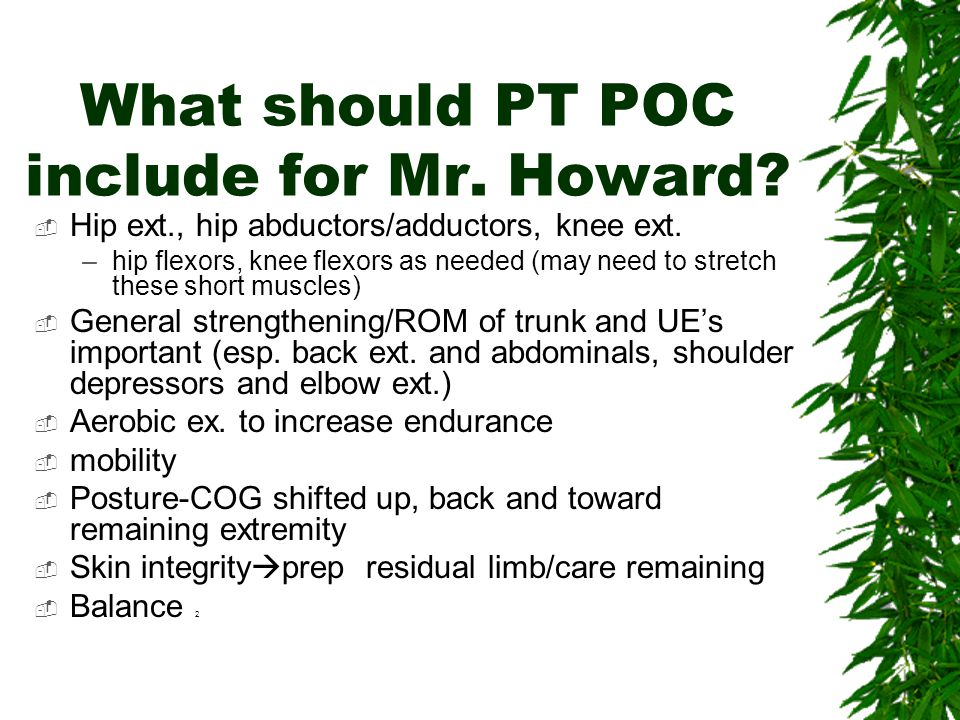 What should PT POC include for Mr. Howard