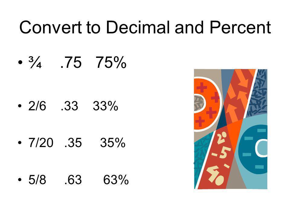 Convert to Decimal and Percent