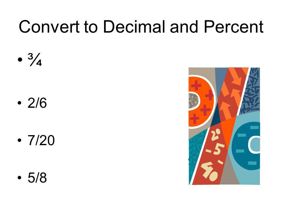 Convert to Decimal and Percent