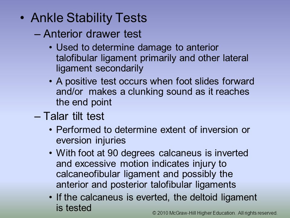 Ankle Stability Tests Anterior drawer test Talar tilt test