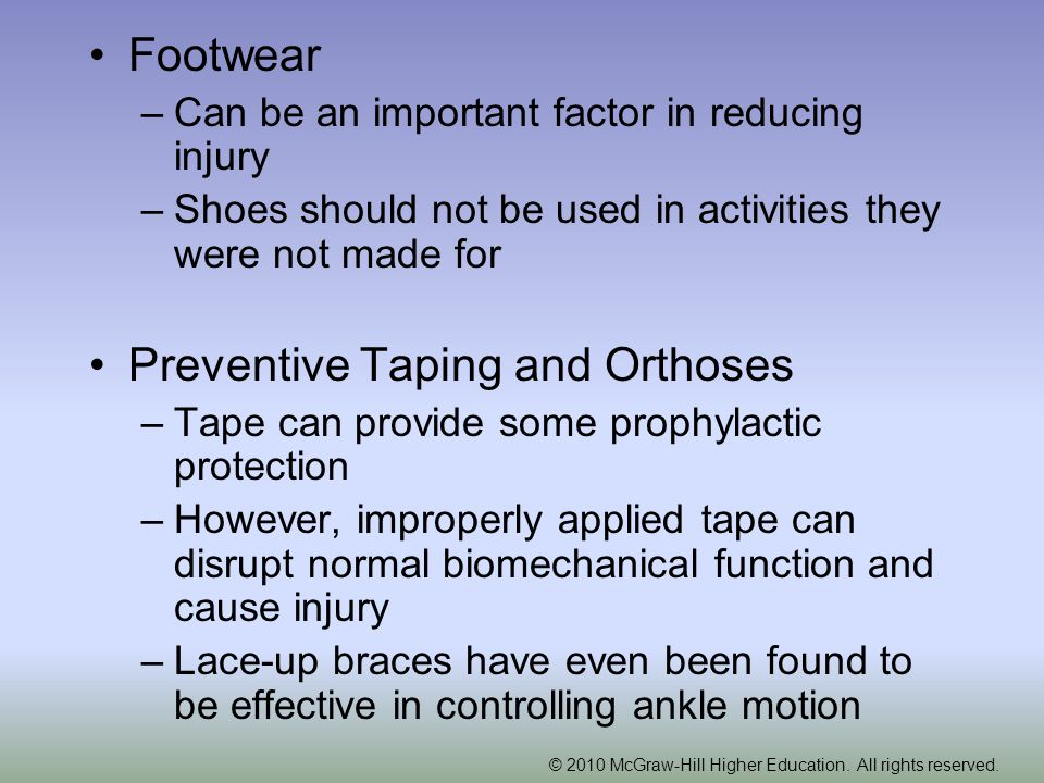 Preventive Taping and Orthoses