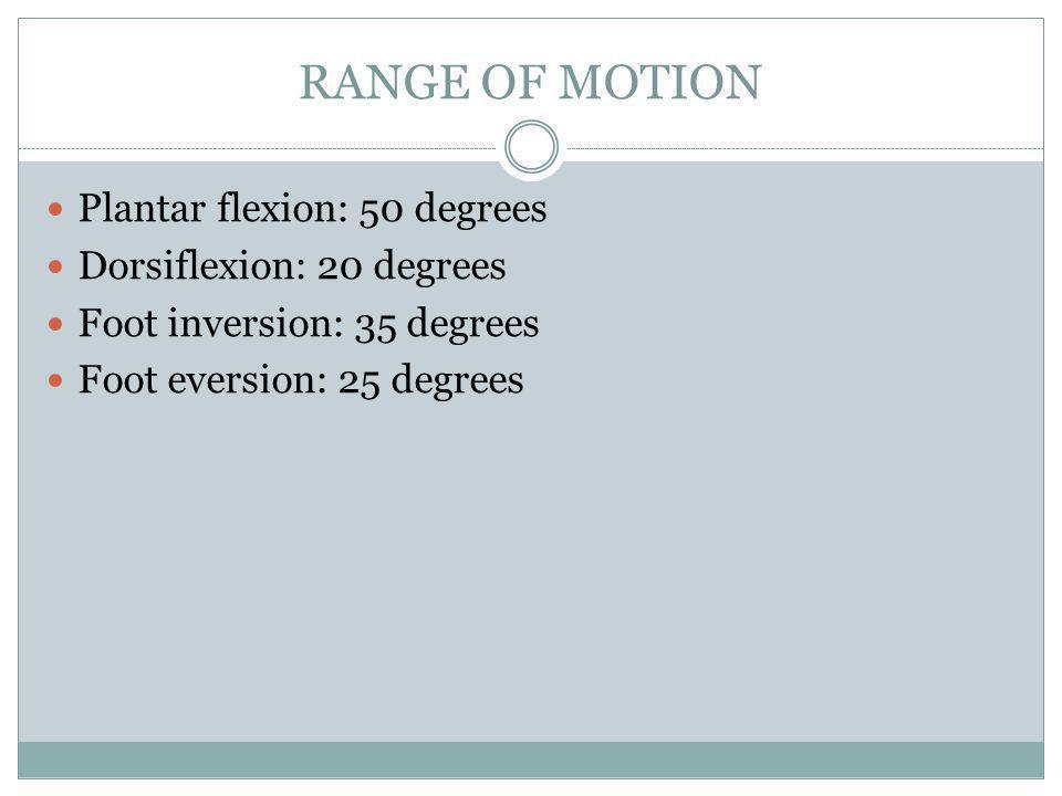 RANGE OF MOTION Plantar flexion: 50 degrees Dorsiflexion: 20 degrees