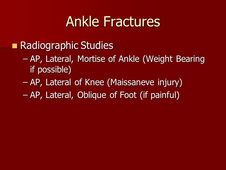 Ankle Fractures Radiographic Studies