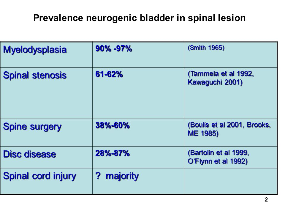 Prevalence neurogenic bladder in spinal lesion Myelodysplasia