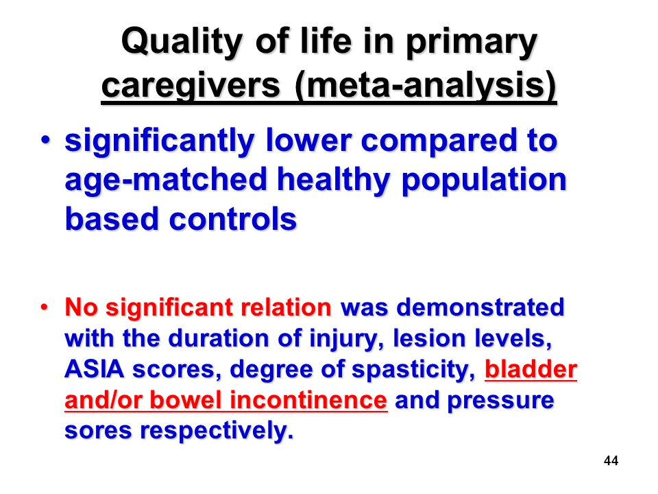 Quality of life in primary caregivers (meta-analysis)