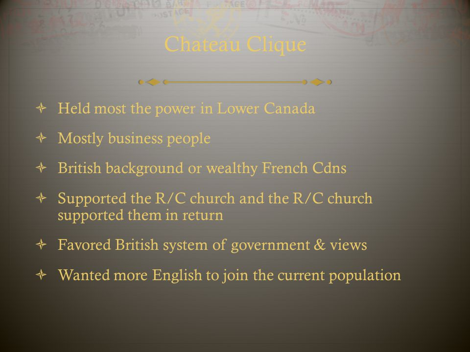 Chateau Clique Held most the power in Lower Canada