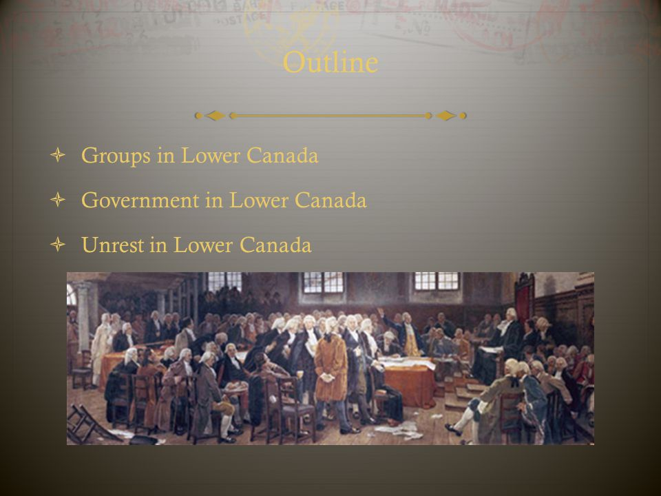 Outline Groups in Lower Canada Government in Lower Canada