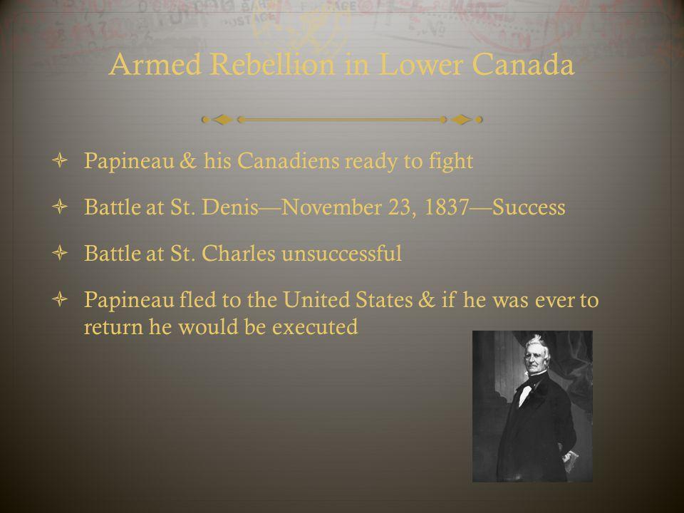 Armed Rebellion in Lower Canada