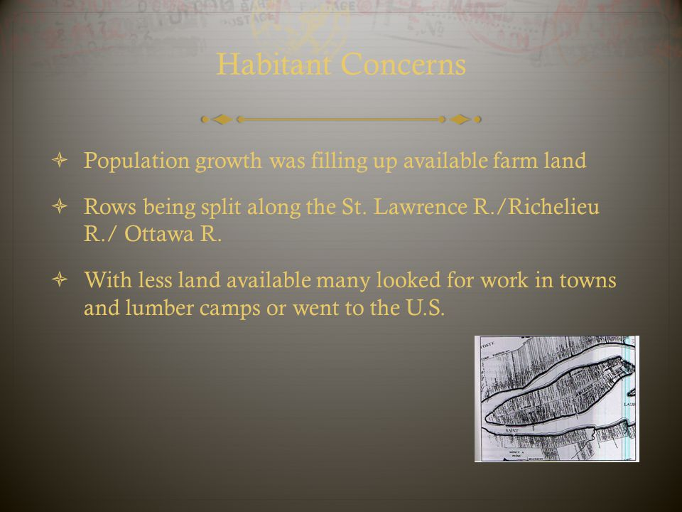 Habitant Concerns Population growth was filling up available farm land