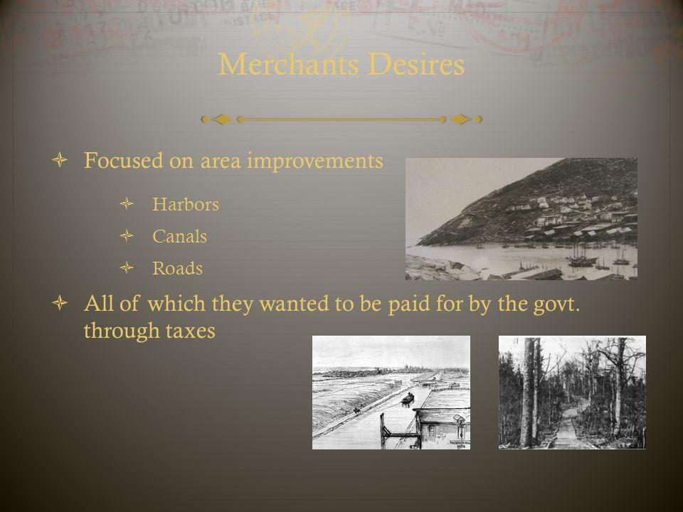 Merchants Desires Focused on area improvements
