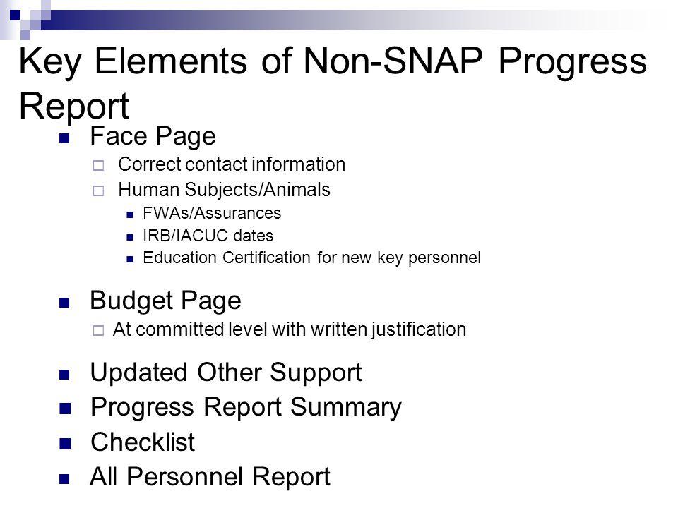 Key Elements of Non-SNAP Progress Report