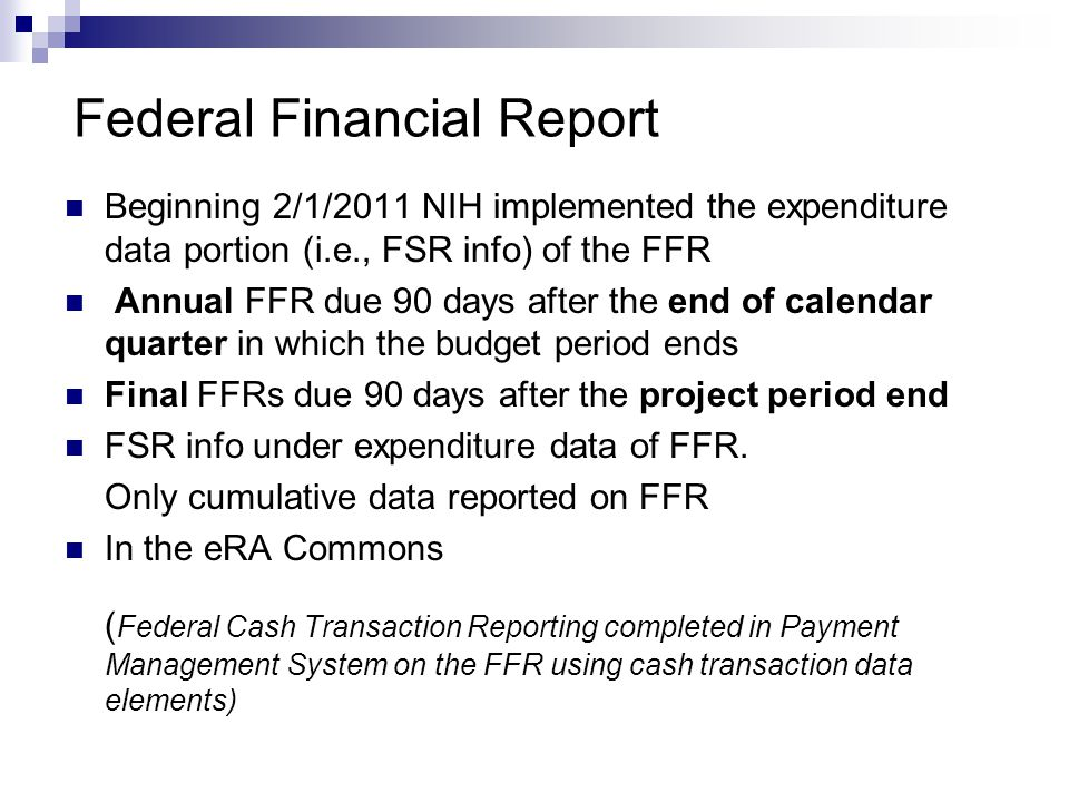 Federal Financial Report
