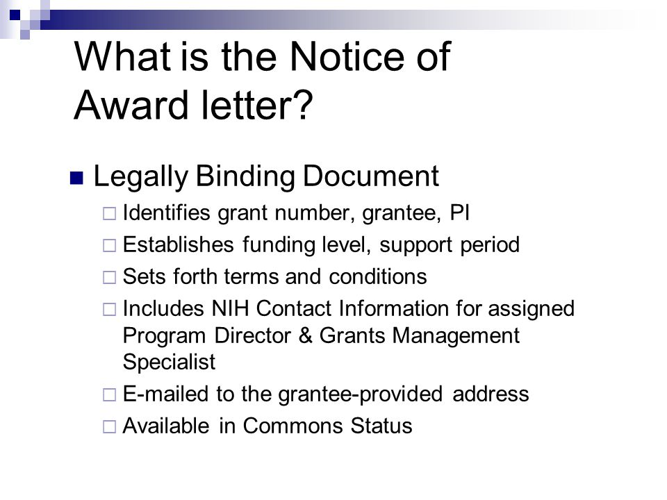 What is the Notice of Award letter