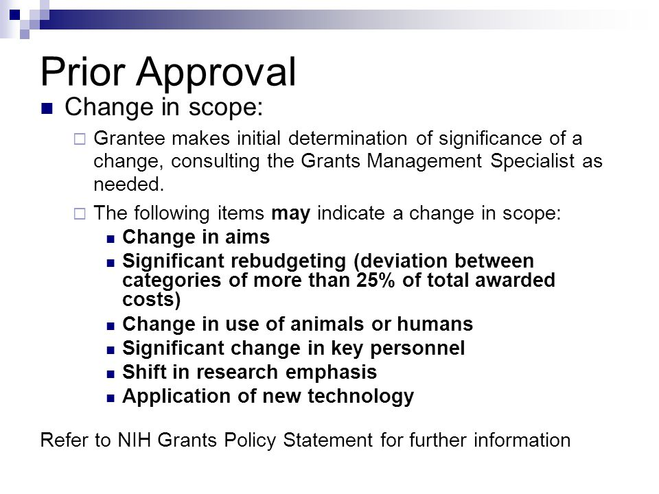Prior Approval Change in scope: