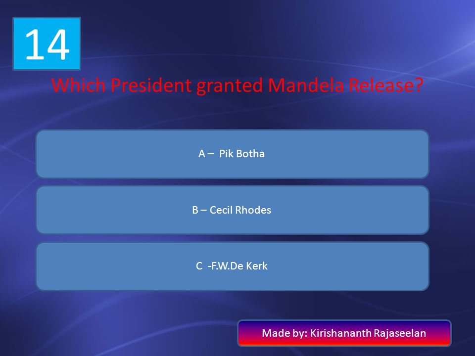 14 Which President granted Mandela Release A – Pik Botha