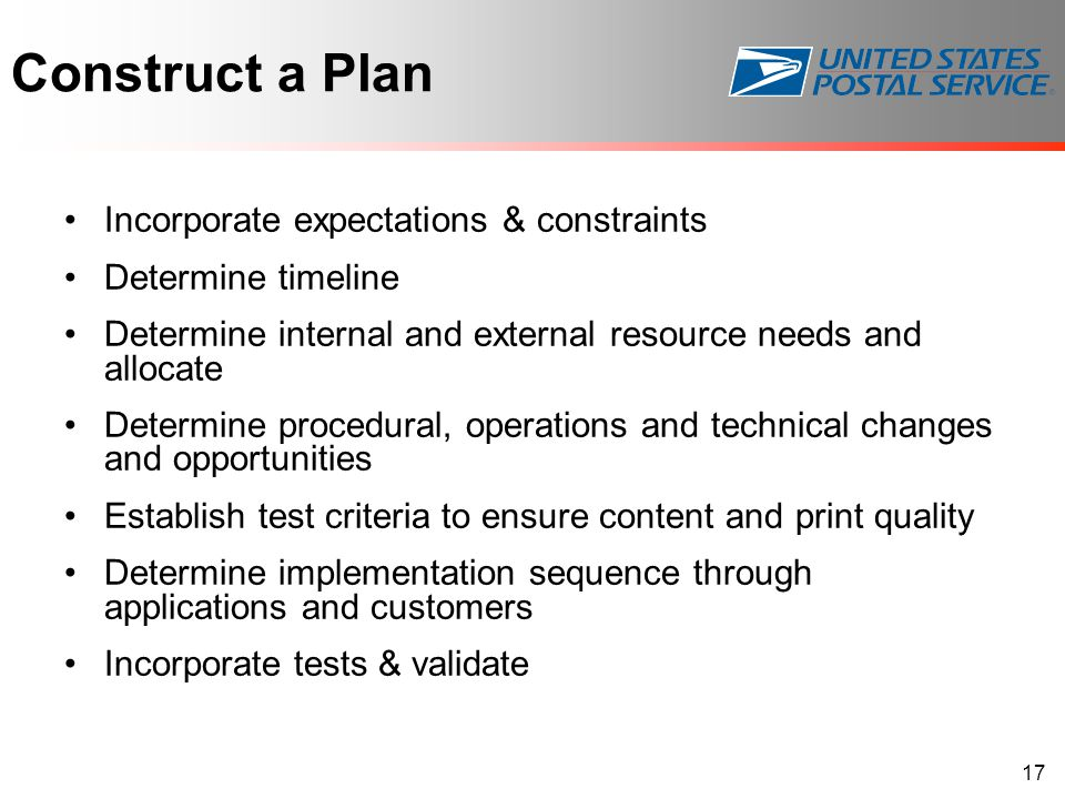 Construct a Plan Incorporate expectations & constraints