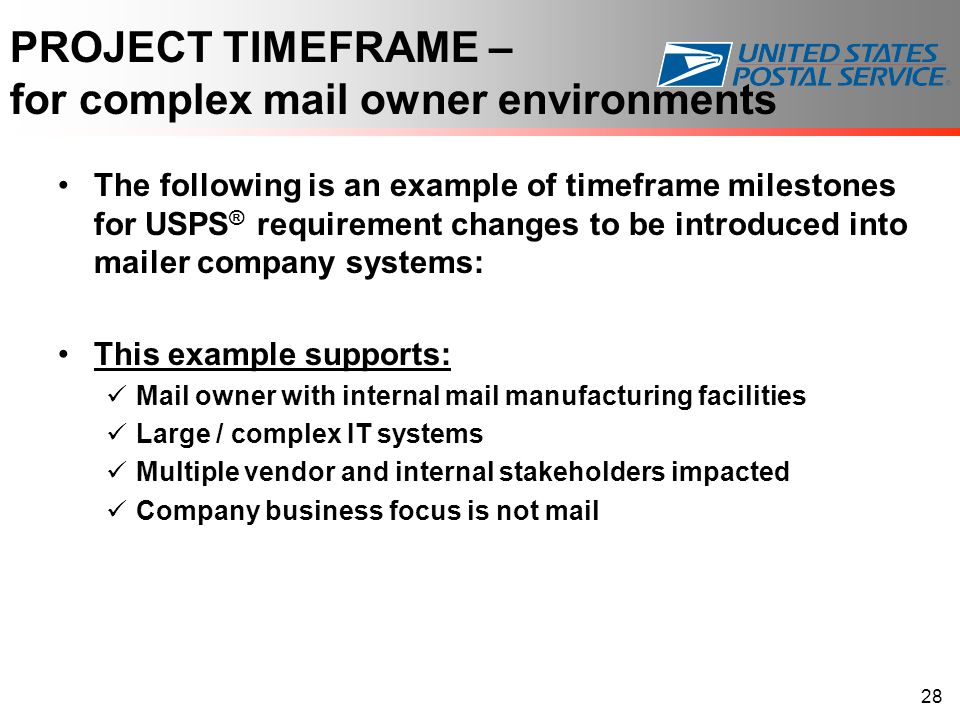 PROJECT TIMEFRAME – for complex mail owner environments