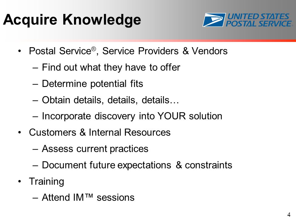 Acquire Knowledge Postal Service®, Service Providers & Vendors