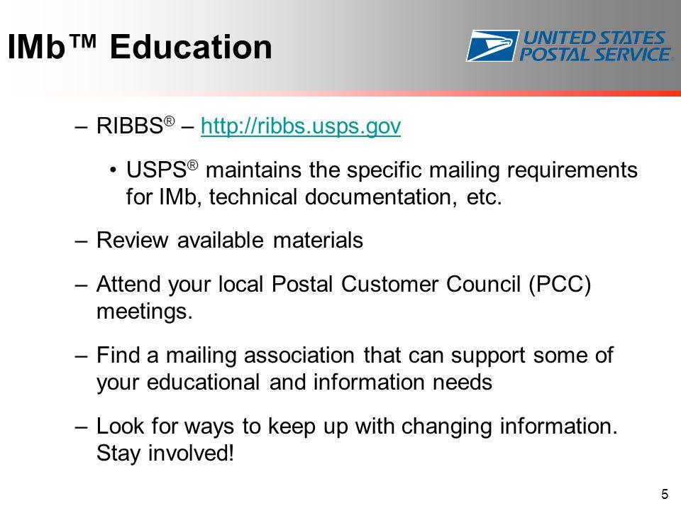 IMb™ Education RIBBS® – http://ribbs.usps.gov