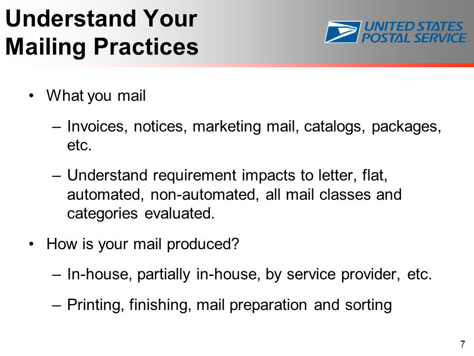 Understand Your Mailing Practices