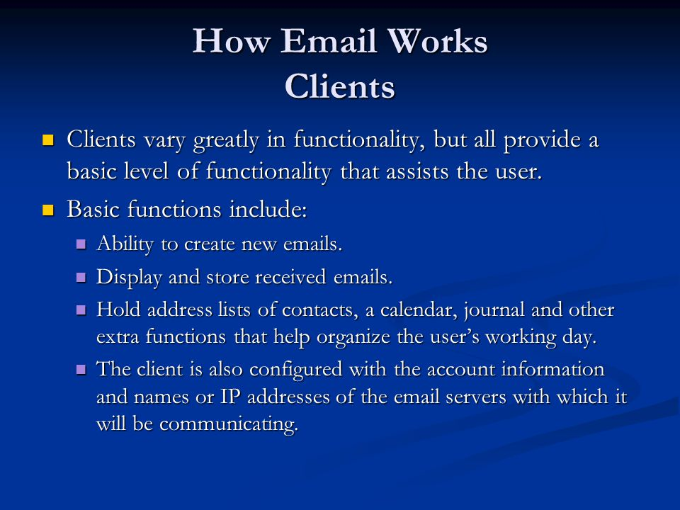 How Email Works Clients