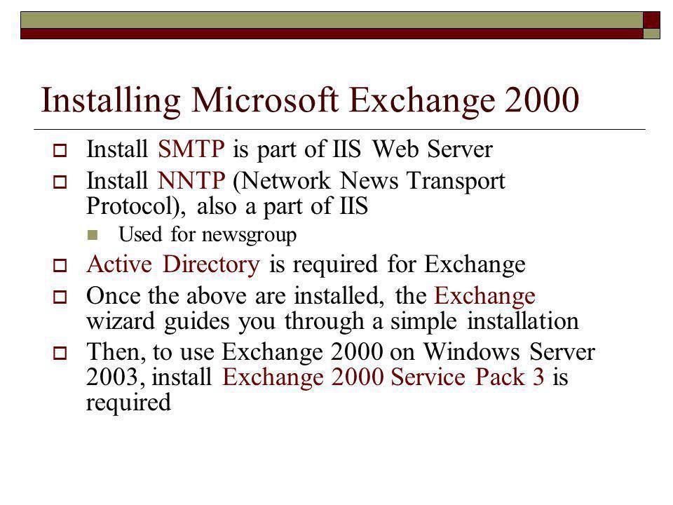 Installing Microsoft Exchange 2000