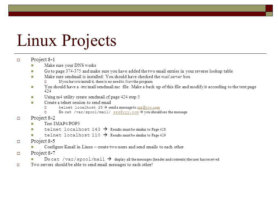 Linux Projects Project 8-1 Project 8-2 Project 8-5 Project 8-7