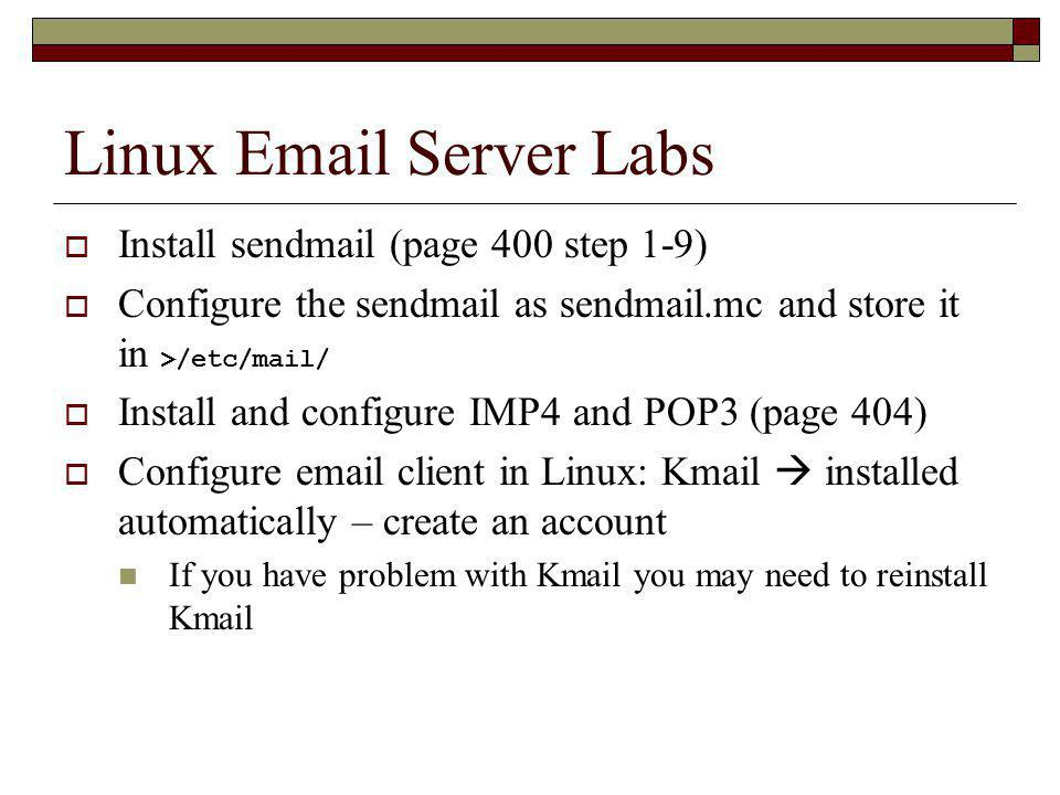 Linux Email Server Labs