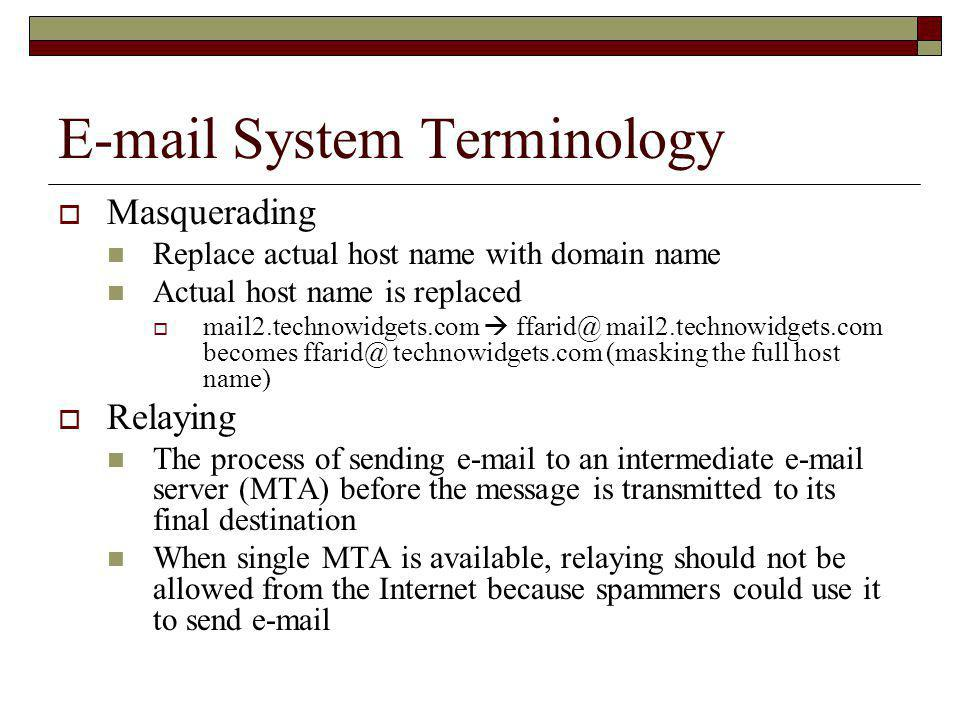 E-mail System Terminology