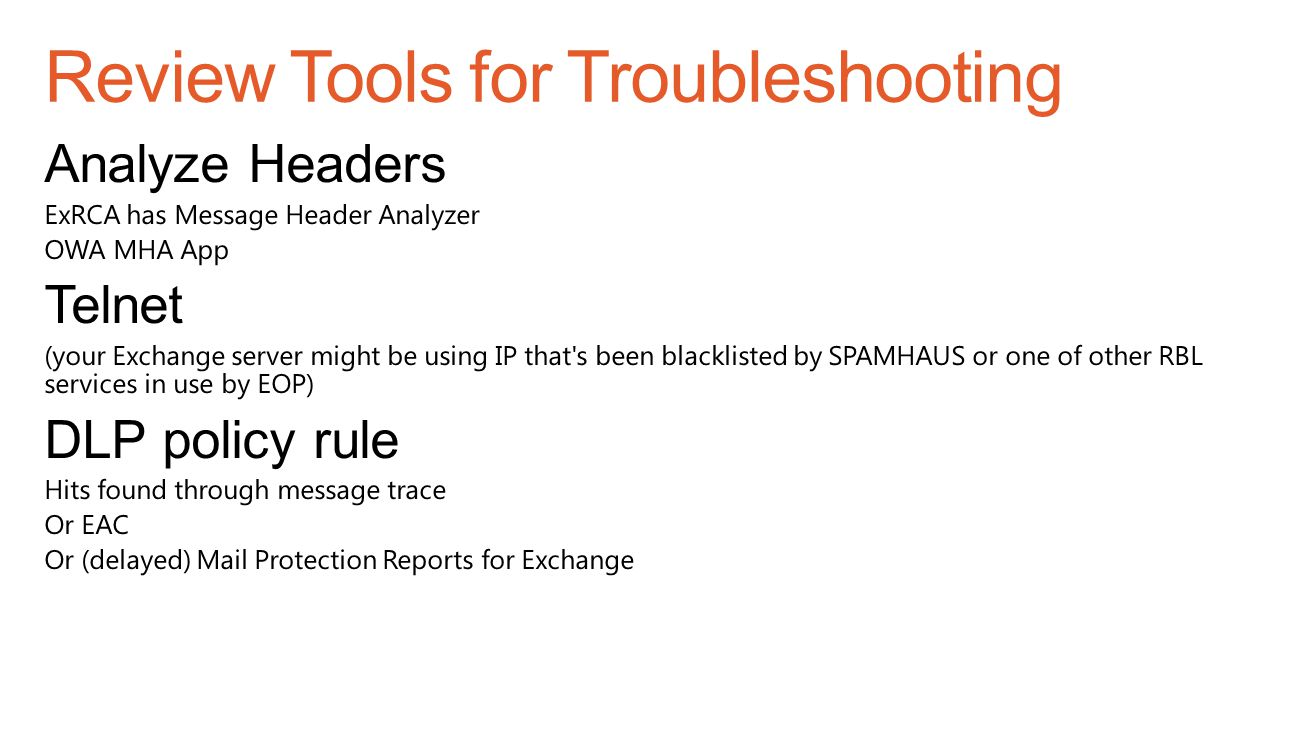 Review Tools for Troubleshooting