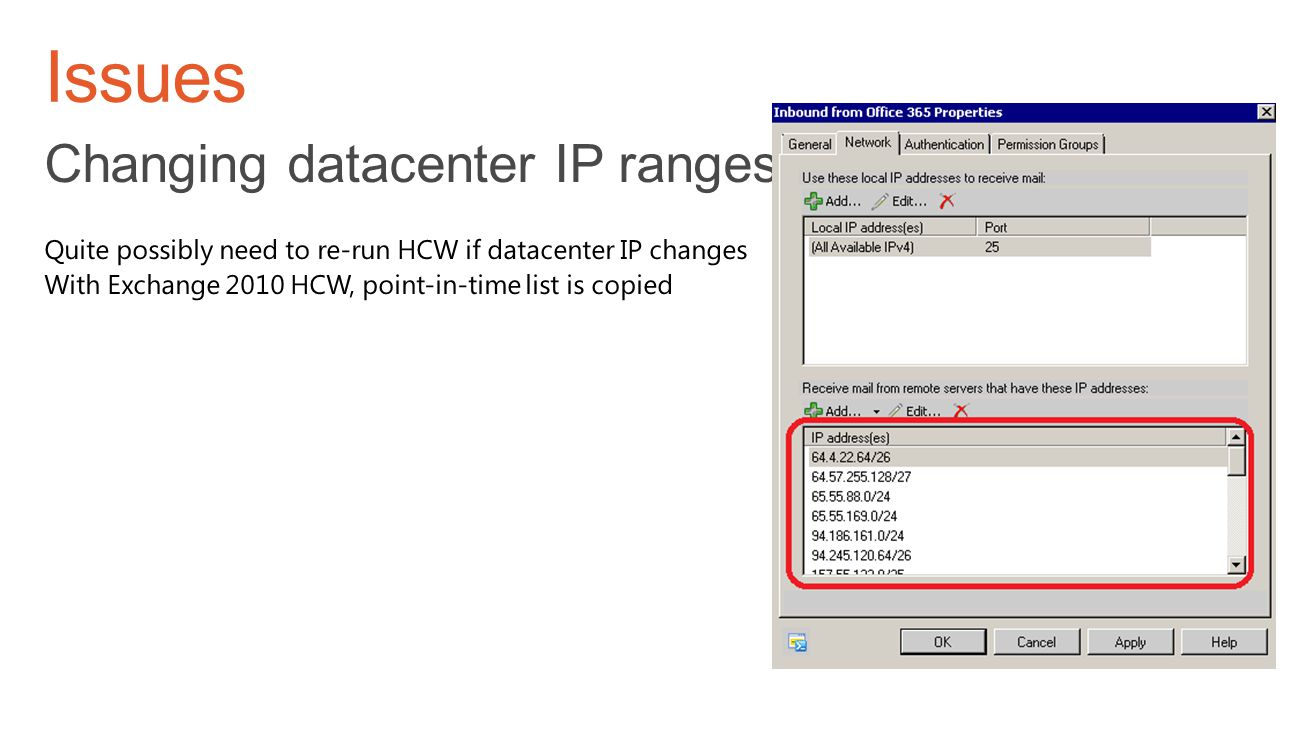 Issues Changing datacenter IP ranges